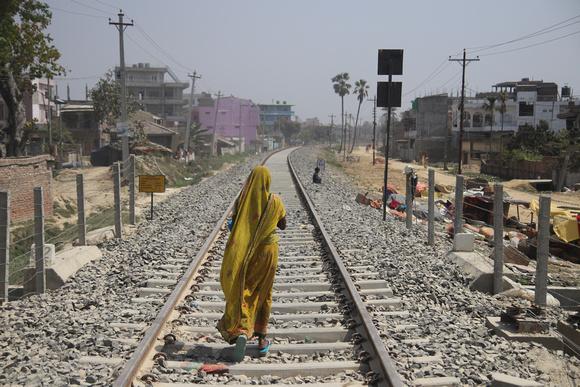 Woman walking on Janakpur Railway