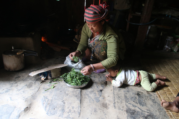 Nepali Grandmother and child in village