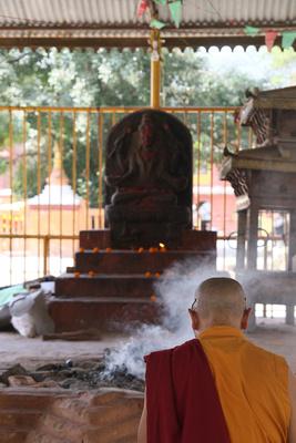 A monk prays in Kathmandu