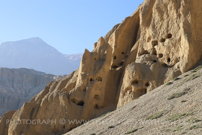 Mountain caves in Upper Mustang