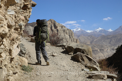 Trekking along a trail in Upper Mustang