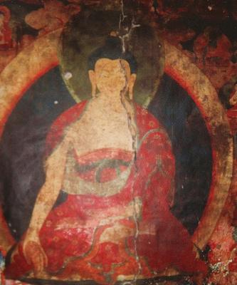 Buddha painting inside Chode Gompa