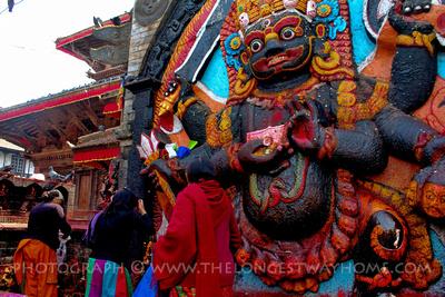 Kal Bhairab statue in Kathmandu Durbar Square