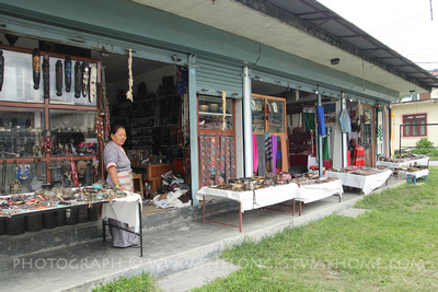 Store fronts at a Tibetan refugee settlement