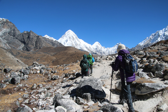 Trekkers with a guide going to Everest Base Camp