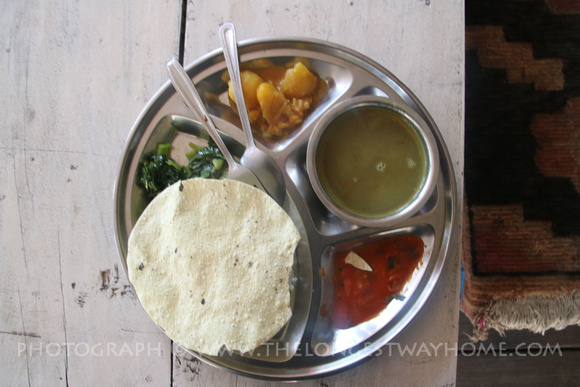 Plate of Dal Bhat on Annapurna Base Camp Trek