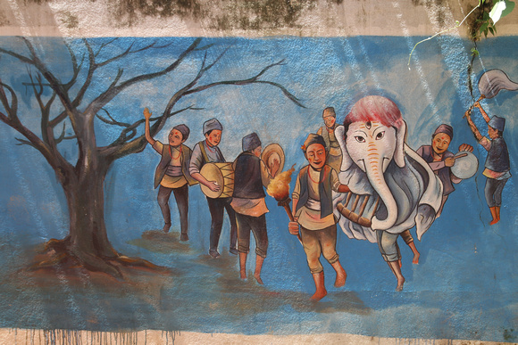 Street art of Ganesh in Kathmandu