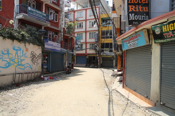 An empty street in Thamel