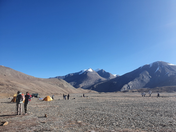 Trekkers in an open space in Nepal