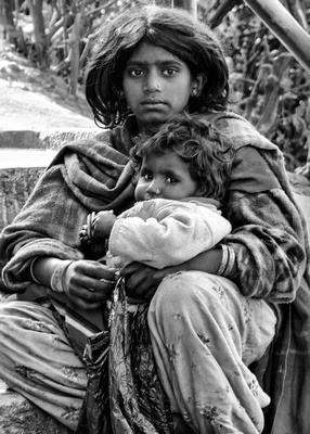 Young mother and baby in Nepal