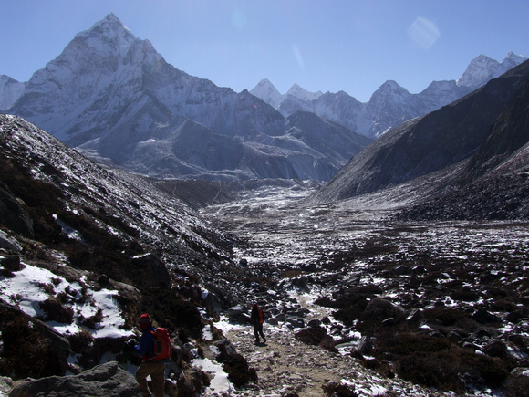 Nepali mountains with trekkers