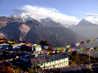 Annapurna Circuit Nepal Sunset over village and fishtail
