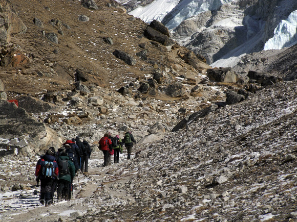 Trekking group going to Base Camp