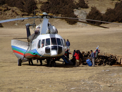 Helicopter loading up in Nepal