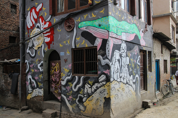 Abstract street art in Kathmandu