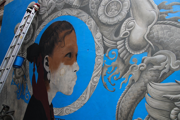 Newar street art girl being created in Kathmandu