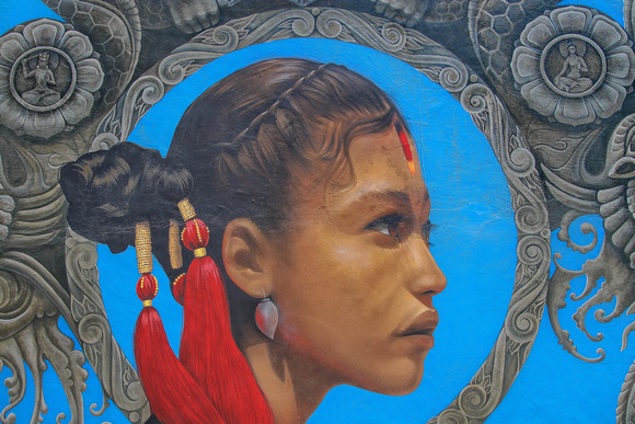 Newari girl image depicted in street art