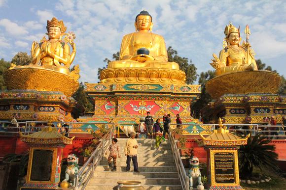 At Swaymbhu hill you visit these three Buddha statues