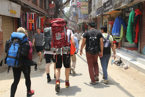 Backpackers on the street of Kathmandu