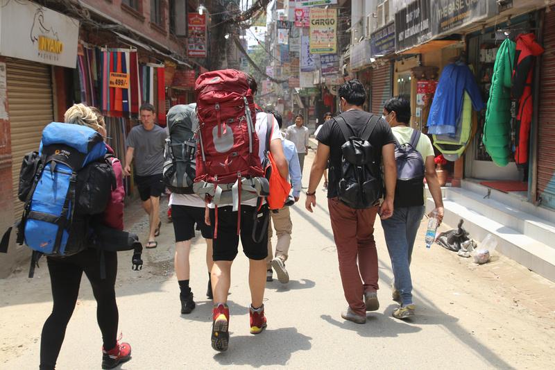 Tourists on the streets of Thamel, Kathmandu