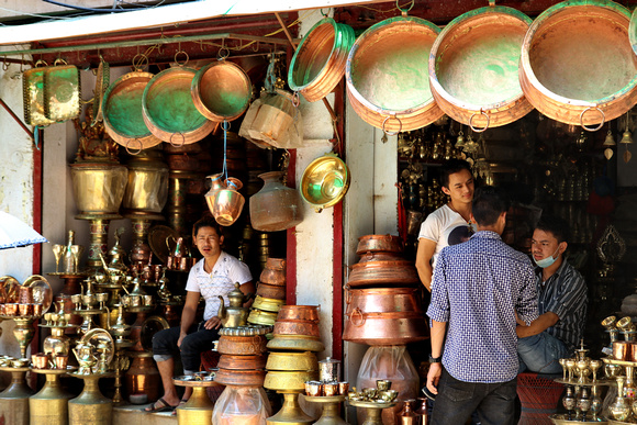 Copper and brass shops in Kathmandu