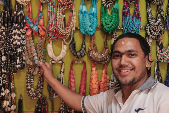 A local jewelery maker shows his handmade designs