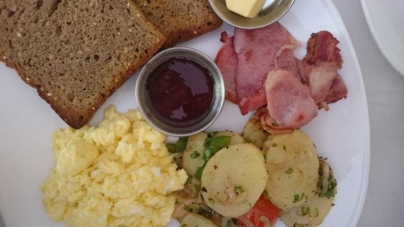 A bacon breakfast at Brezel cafe in Kathmandu