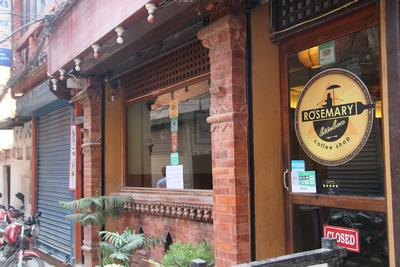 The outside of Rosemary Restaurant in Kathmandu