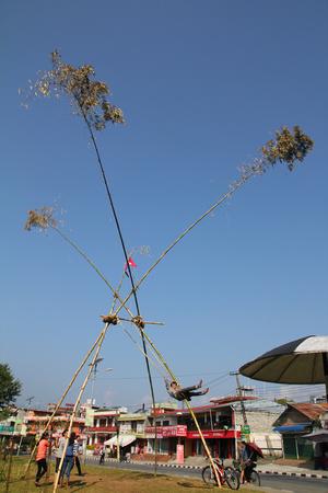 Giant bamboo swing in Nepal