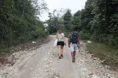 Trekkers on the road to Panchase