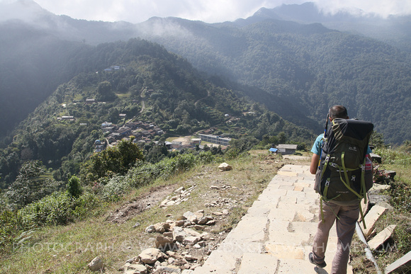 Trekking guide showing the way on the Panchase trek