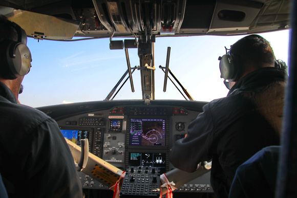Inside the cockpit of the Pokhara to Jomson plane