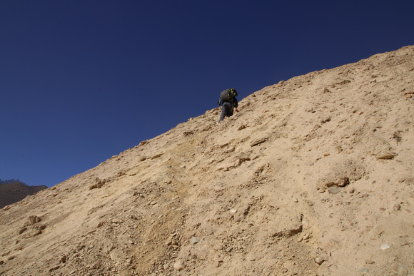 Trekking up an old mountain in Gyakar Upper Mustang
