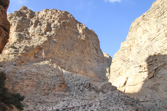 Climbing up rocky paths in Upper Mustang