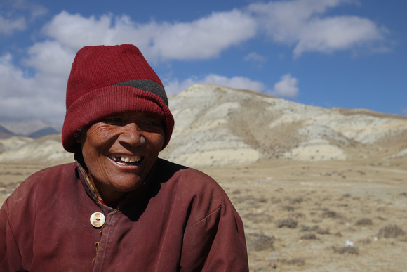 A female nomadic monk in Upper Mustang