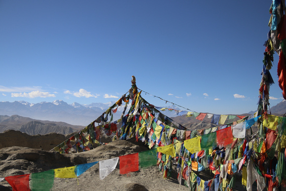 Prayer flags on top of the Kings Castle in Lo Manthag