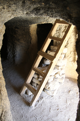 Wooden ladder inside the Jhong caves