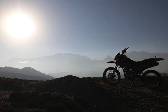 A lone motorcycle in Upper Mustang