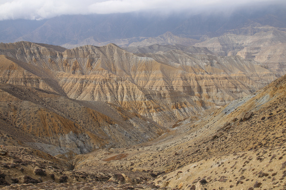 The vast colorful canyons of Eastern Upper Mustang