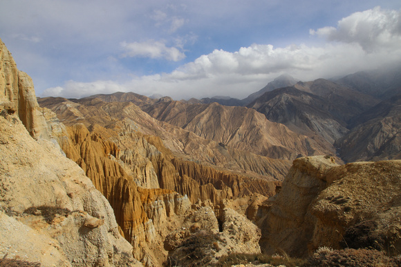 Golden colored valley in Upper Mustang