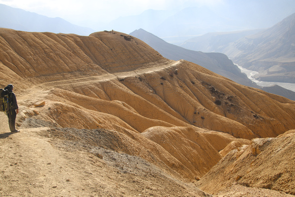 Long golden trail in Upper Mustang