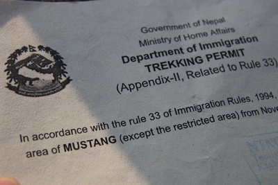 Upper Mustang Restricted Area Permit