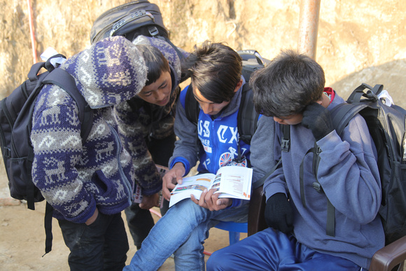 School boys read a travel guidebook in a group