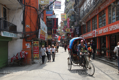 Getting around Thamel on a rickshaw
