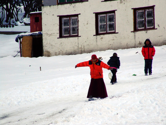 Monks skiing in Nepal