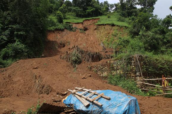 Landslide in Nepal during monsoon season