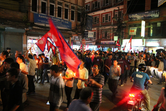 Streets of Kathmandu filled with people celebrating their constitution
