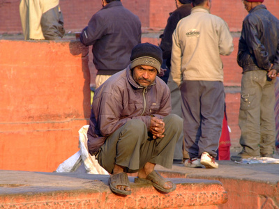 Man waiting for work in Kathmandu