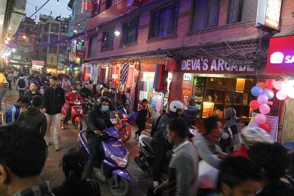 Traffic in the evening in Thamel