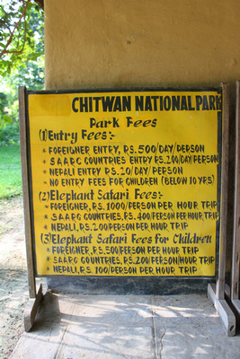Chitwan Park Fees Sign